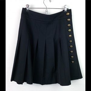 Burberry skirt pleated wool navy blue brass button